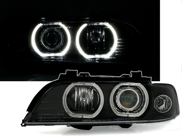 BMW E39 framlampor Angel Eyes svart Xenon